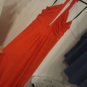 red orange stretch maxi halter dress